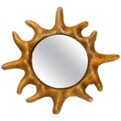 Gilt Bronze Sun Mirror by Stéphane Galerneau for Fondica, France, 1995