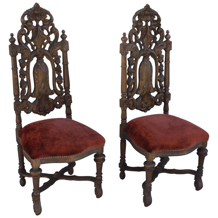 Captivating Pair Of 1920s Spanish Revival Carved Side Chairs 1