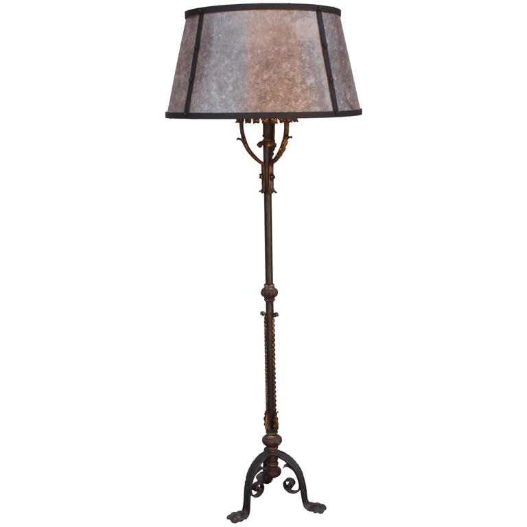 1920s Floor Lamp with Mica Shade