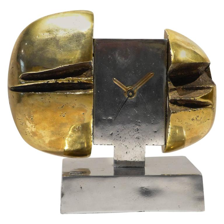 Sculptural Clock by David Marshall For Sale