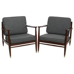 Pair of American Modern Armchairs in the Style of Grete Jalk