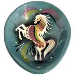 Ceramic Hand-Painted Horse Dish by Sascha Brastoff