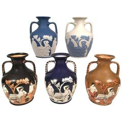 Rare Collection of Five English Pottery Portland Vases