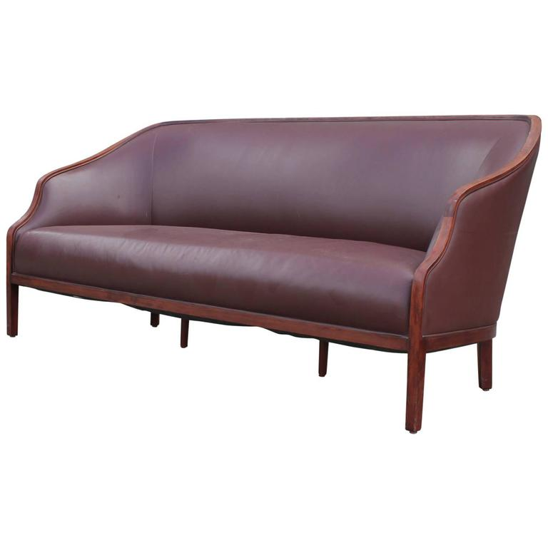 elegant brown leather sofa by ward bennett at 1stdibs