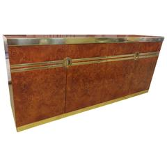 Stunning Pierre Cardin Signed Burled and Brass Credenza