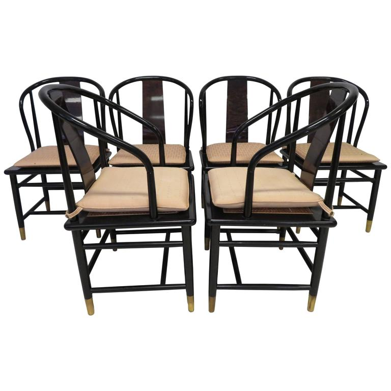 Attrayant Fabulous Set Of Six Scene Three Asian Style Lacquered Dining Chairs  Henredon For Sale