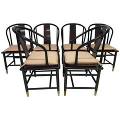 Fabulous Set of Six Scene Three Asian Style Lacquered Dining Chairs Henredon