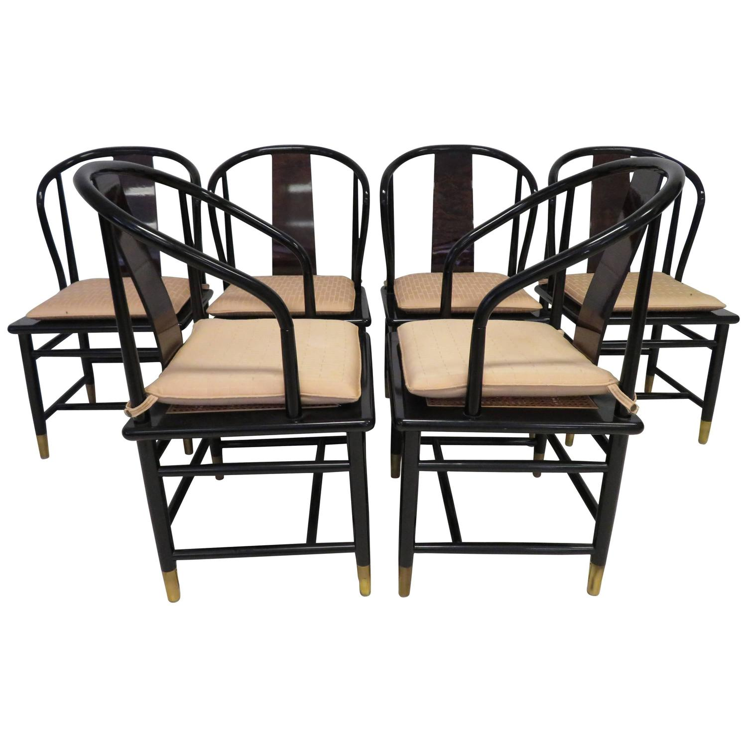 fabulous set of six scene three asian style lacquered dining