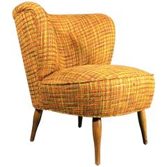 Danish Easy Chair, circa 1950s with Vintage Boucle Fabric