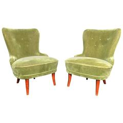 """Pair of Early 1940s Danish """"Emma"""" Chairs in Sage Mohair"""