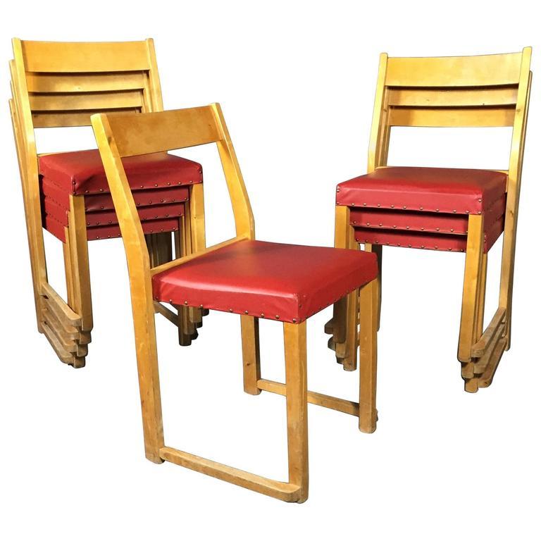 Sven Markelius Birch Stacking Chairs for Bodafors Sweden, Designed 1931