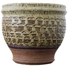 Textured Stoneware Garden Pot