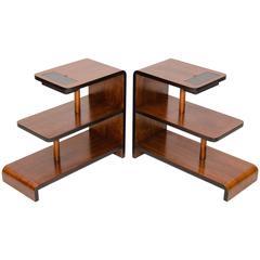 Pair of Walnut Art Deco Three-Tier End Tables