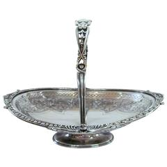 Antique English Sheffield Silver Plate Hand Pierced & Engraved Oval Cake Basket