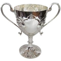 English Silver plate Hand Chased and Engraved Two-Handle Loving or Trophy Cup