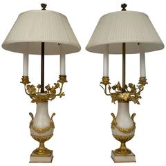 Pair of Louis XVI Style Marble and Gilt Bronze Urn Form Candelabra Lamps