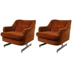 Pair of Chrome Base Upholstered Top Club Chairs