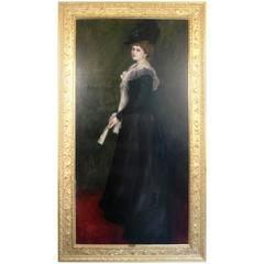 Gilded Age Portrait of a Lady with Fan, Signed A. Roegels, 1899
