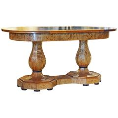 Superior 19th Century Biedermeier Style Twin Pedestal Birchwood Library Table