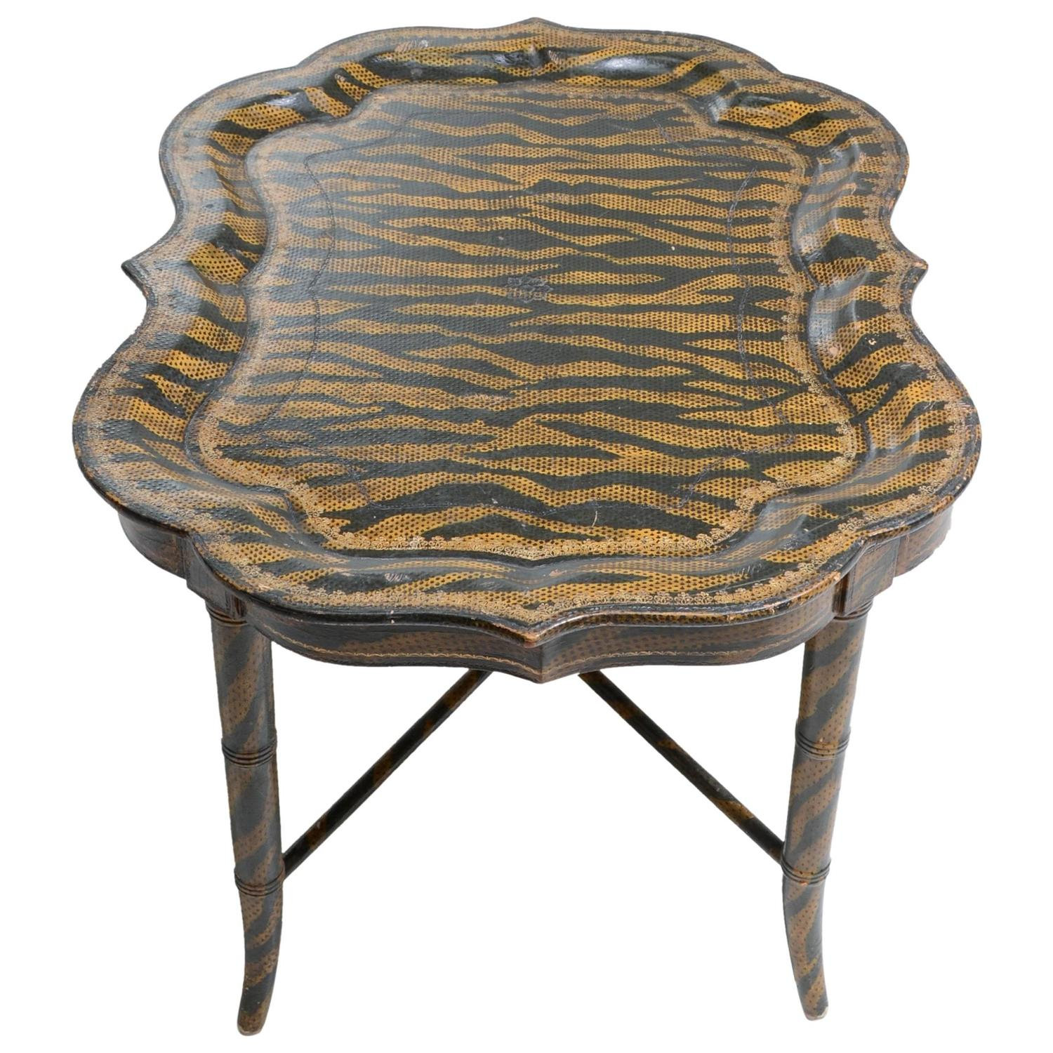 Hand Painted Tiger Print Coffee Table by Maitland Smith For Sale
