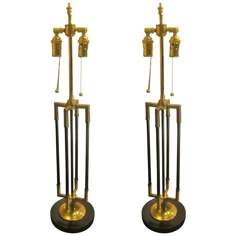 Unusual Pair of Brass and Iron Table Lamps 1