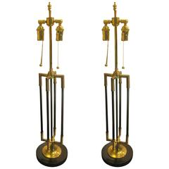 Unusual Pair of Brass and Iron Table Lamps