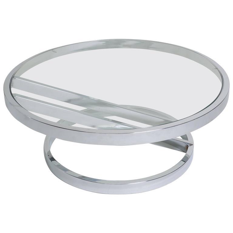 American Modern Milo Baughman Circular Chrome and Glass Coffee Table For Sale