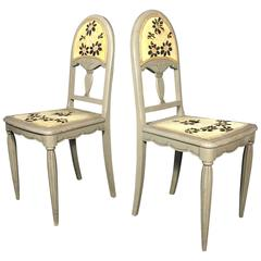 Pair of French Art Nouveau Embroidered Side Chairs, circa 1915