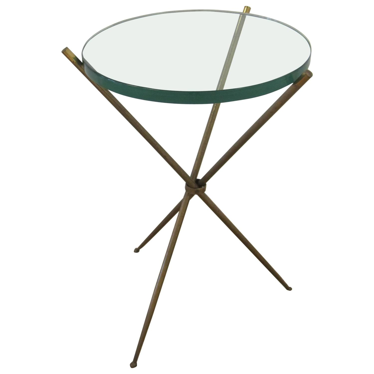 Vintage Modern Italian Brass and Glass Tripod Side Table after Gio