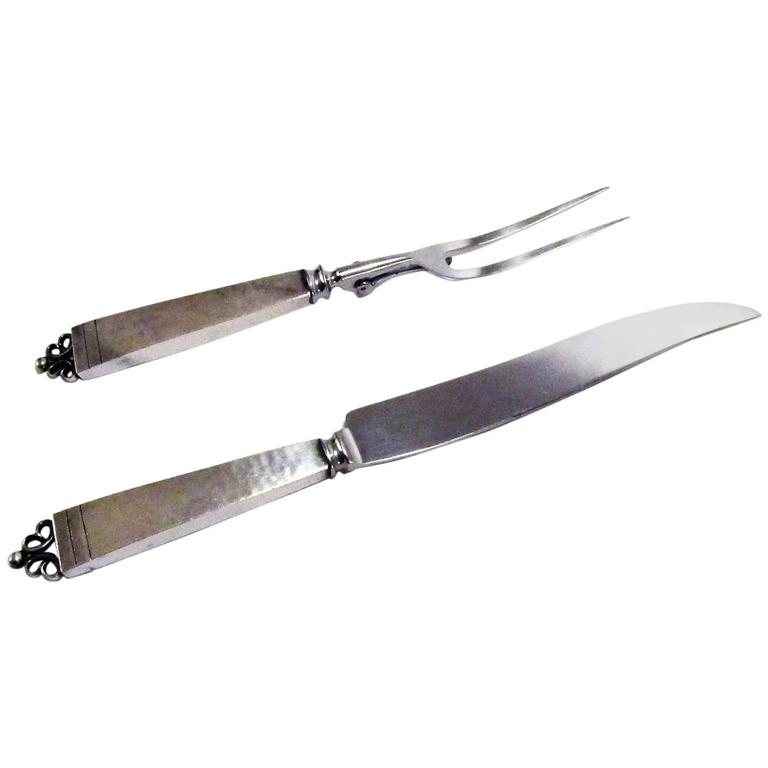 Sterling Silver Knife and Fork Carving Set from The Kalo Workshop 1