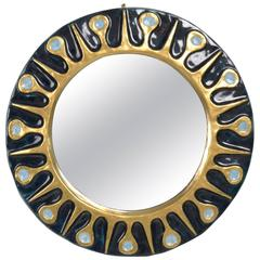 Ceramic Mirror with Crackled Glass Detail