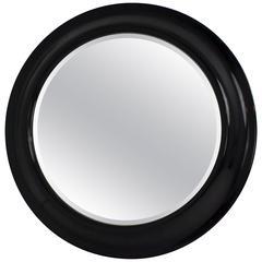 Monumental Black Lacquer Mirror, USA, circa 1980s
