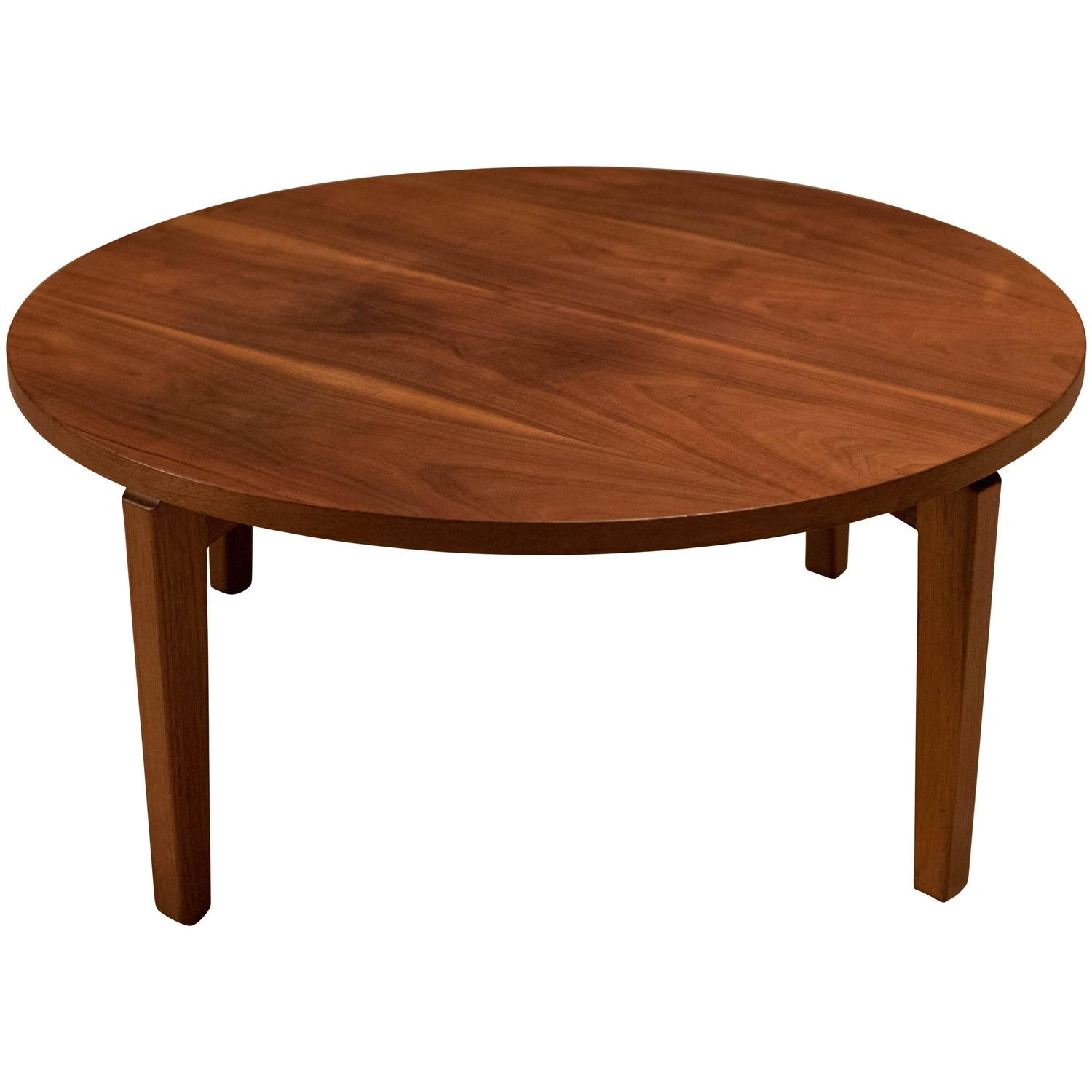 Mid-Century Walnut Round Coffee Table For Sale At 1stdibs