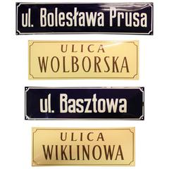 Porcelain Convex Street Signs from Warsaw, Poland