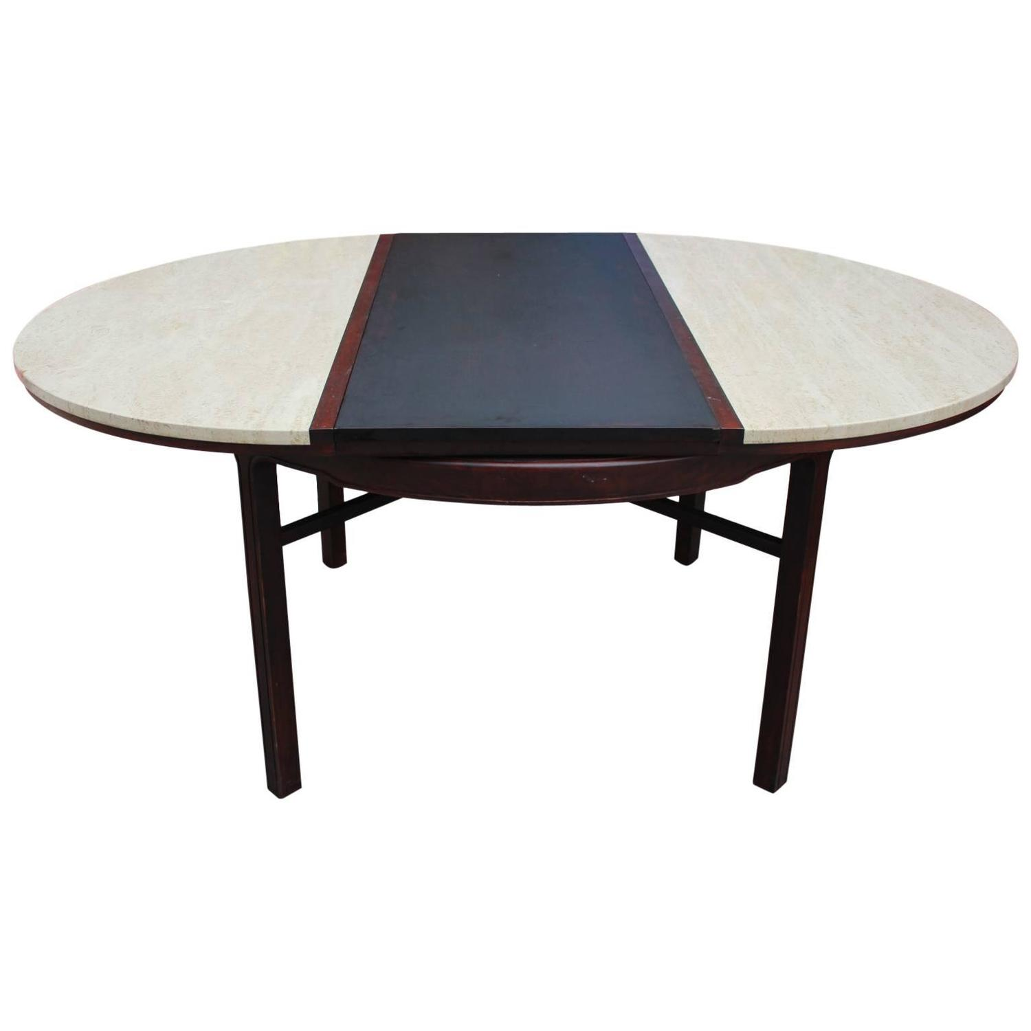Striking Color Blocked Travertine Dining Table At 1stdibs