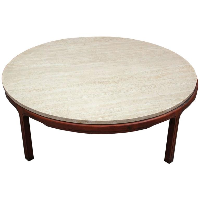 Round Travertine Topped Coffee Table At 1stdibs