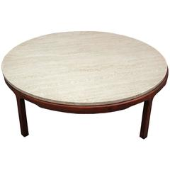 Round Travertine Topped Coffee Table
