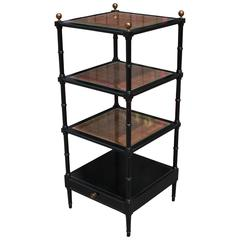 Charming Black Lacquer and Rattan Faux Bamboo Etagere