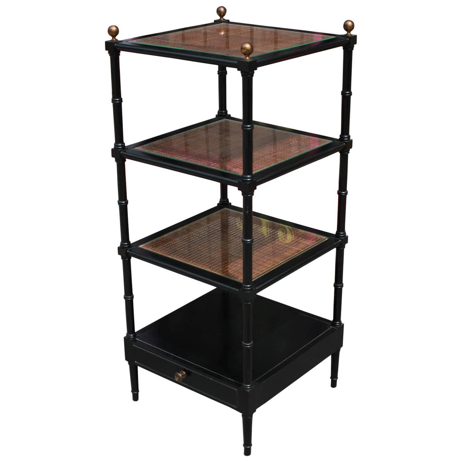 Square Black Lacquer And Rattan Faux Bamboo Modern Etagere Bookshelf For  Sale At 1stdibs