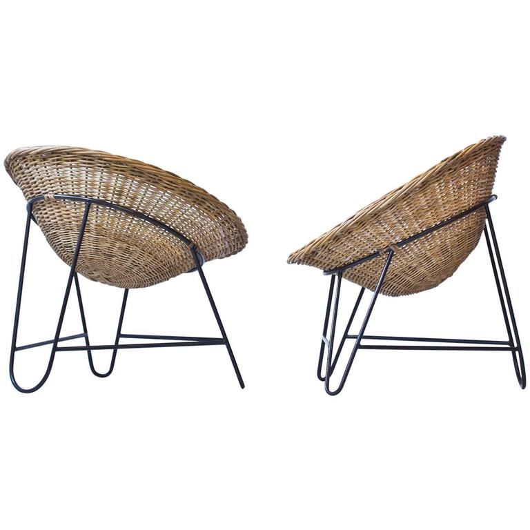 Danish 1950s Rattan Easy Chairs
