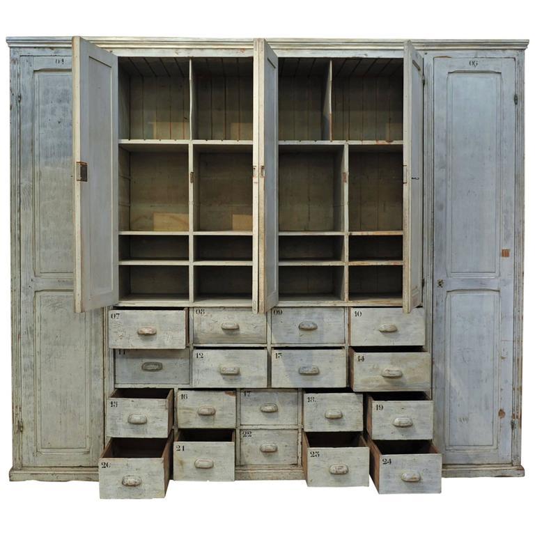 Large Textile Factory Pine Cabinet Original Cabinet, 1920s ...