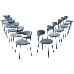Set of 12 Italian Dining Room Chairs for Arflex