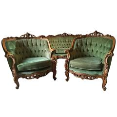 Antique Style Louis XV Armchairs Pair of Button-Back Upholstered Club