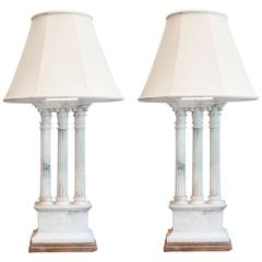 Pair of Neoclassical White Alabaster Table Lamps