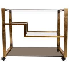 Bar Cart in Brass, Italian, 1960s-1970s