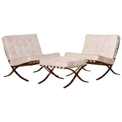 1970s, Ludwig Mies van der Rohe, Barcelona, White Leather Lounge Set