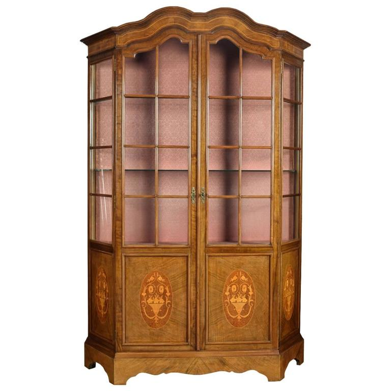 Walnut Inlaid Display Cabinet 1