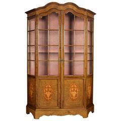 Walnut Inlaid Display Cabinet