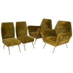 Rare Set of Gigi Radice Lounge Chairs and Side Chairs, Italy, 1950s