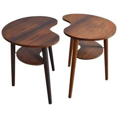 Pair of Danish Palette Shaped Side Tables by L. Chr Larsen & Son